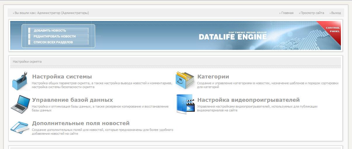 рабочая панель DLE
